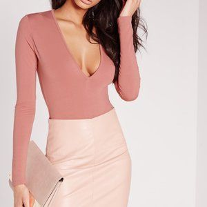 Missguided Pink V-Neck Bodysuit - Small